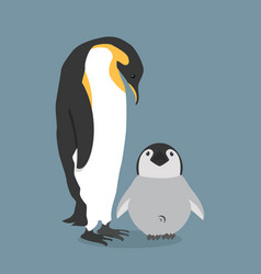 Emperor penguins with chick vector