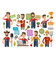 Farmer or farming gardening icons set vector