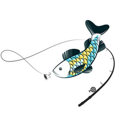 Fish jumping for bait on a hook vector