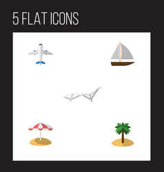 Flat beach set of aircraft coconut parasol and vector