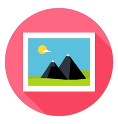 Flat Landscape Picture Circle Icon with Long vector