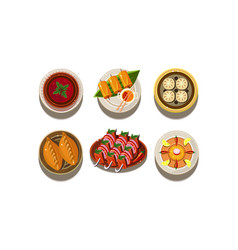 Flat set of plates with tasty asian dishes vector