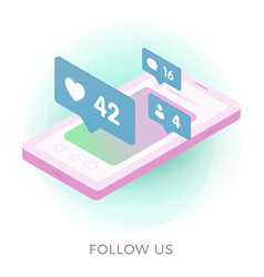follow us - isometric icon concept vector image