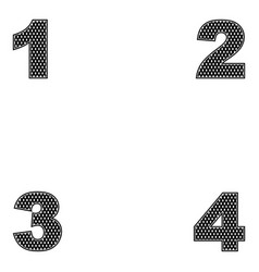 four digits 1 2 3 4 simple design of black vector image