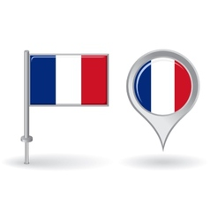 French pin icon and map pointer flag vector image