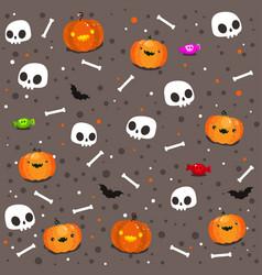 funny skulls pattern halloween background day vector image