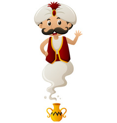 Genie coming out of lamp vector