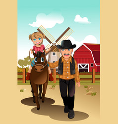 girl riding horse with grandfather vector image
