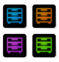 Glowing neon furniture nightstand icon isolated vector
