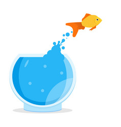 Goldfish jumping out of bowl aquarium vector