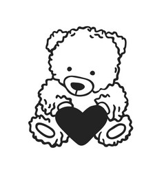 hand drawn fashion romantic bear isolated on vector image