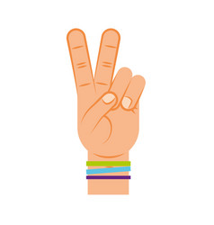 hand making peace and love vector image