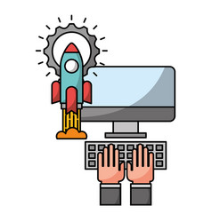 hand with desktop computer and icons vector image