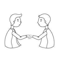Handshaking of businessmen icon in outline style vector image
