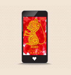 Happy new year 2020 with glasses phone greeting vector