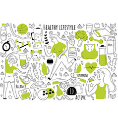 healthy lifestyle doodle set vector image