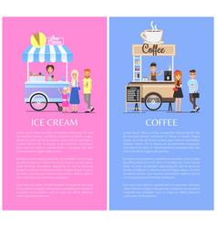 ice cream and coffee kiosks vector image