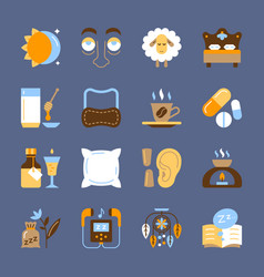 Insomnia icon set sleeplessness flat symbol pack vector