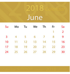 june 2018 calendar popular premium for business vector image