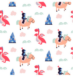knights and dragons seamless pattern vector image