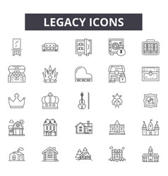 Legacy line icons signs set outline vector