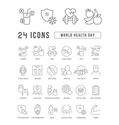 line icons world health day vector image