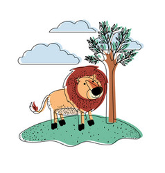 Lion cartoon in outdoor scene with trees and vector