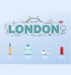 London sightseeing tour with landmark icons in vector