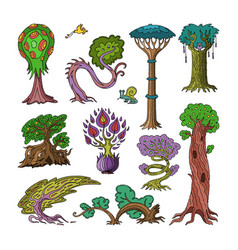 Magic tree fantasy forest with cartoon vector