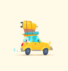 modern poster with a summer car for travel vector image