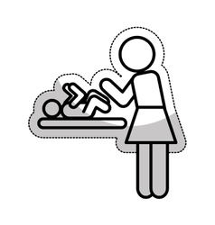 Mom changing baby silhouette vector