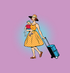 Mom traveler with a child vector
