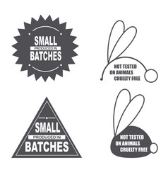 Not tested on animals sign small batches sign vector