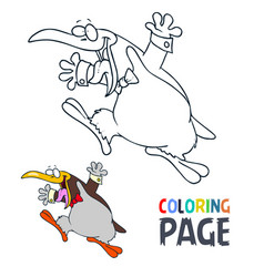 penguin cartoon coloring page vector image
