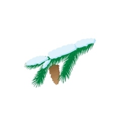 Pine branch icon cartoon style vector image