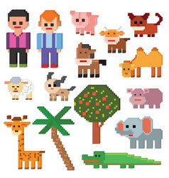 Pixel character farm animal pixelart and vector