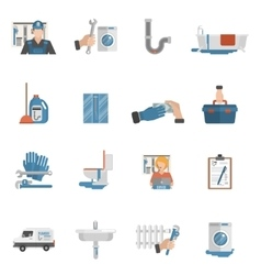 Plumber service flat icons collection vector