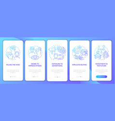 Reasons for consumerism gradient blue onboarding vector