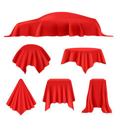 Red silk covered revealer cloth realistic vector