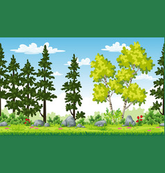 rual summer landscape with trees and flowers vector image