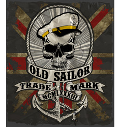 Sailor man skull tee graphic design vector