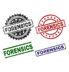 Scratched textured forensics seal stamps vector