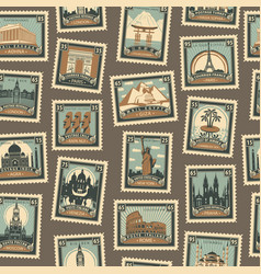 seamless pattern with postmarks on travel theme vector image