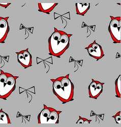 seamless red owls birds pattern background with vector image