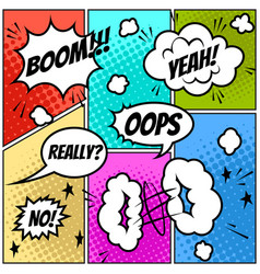 set comic speech bubbles on colorful background vector image
