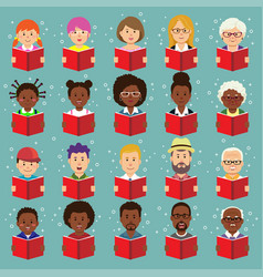 set human faces avatars people reading books vector image