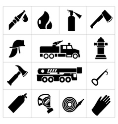 Set icons of firefighter and fireman vector