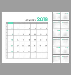 Set identical planners 2019 january separately vector