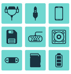 Set of 9 computer hardware icons includes music vector
