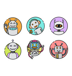 set of round robot icon on white background vector image
